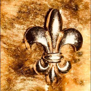 Saints 14k gold solid pendant Who dat fleur-de-lis